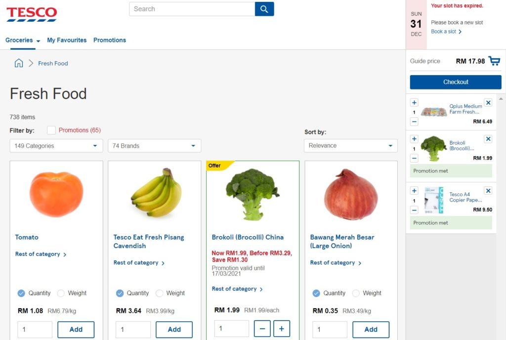 tesco e-shop groceries online