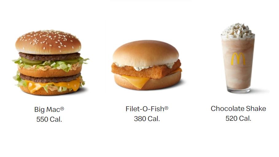 mcdonalds calories nutrition